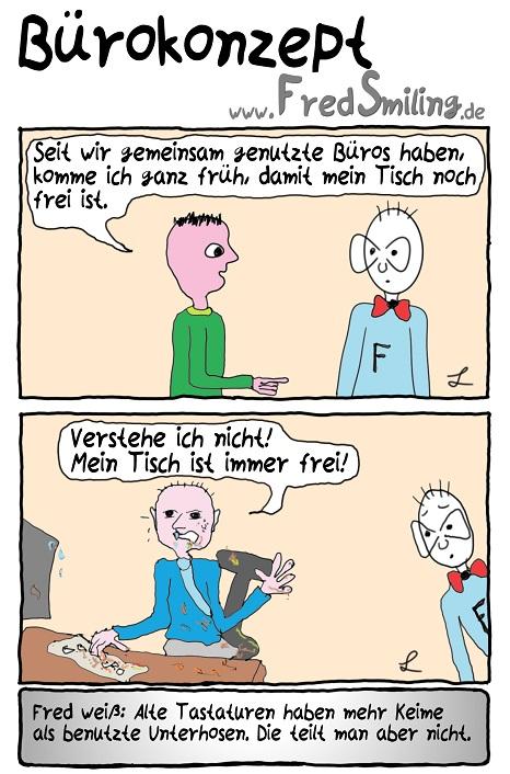FredSmiling Comic Spass buerokonzept