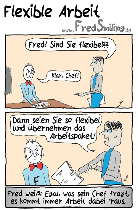 FredSmiling Comic Spass flexible-arbeit