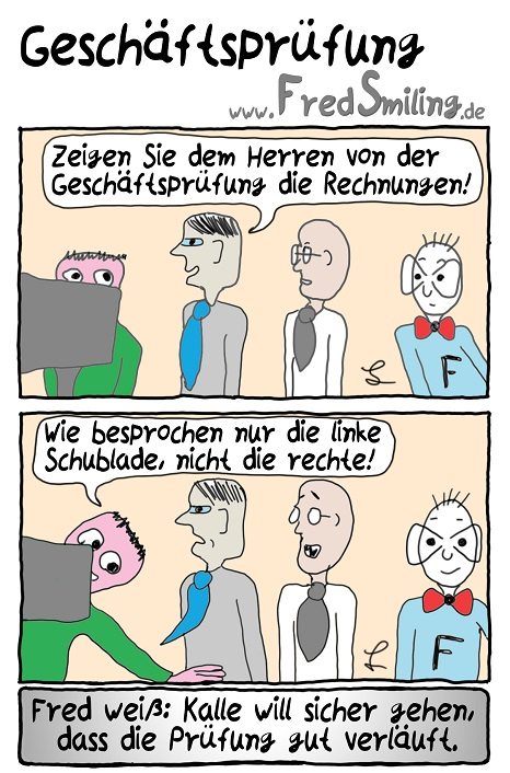 FredSmiling Comic Spass geschaeftspruefung
