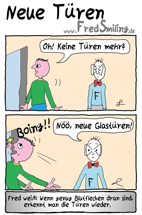 FredSmiling Comic Spass neue-tueren