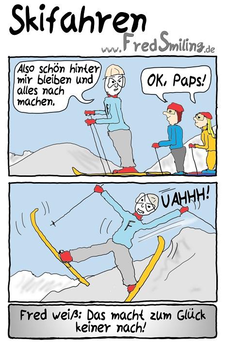 FredSmiling Comic Spass skifahren
