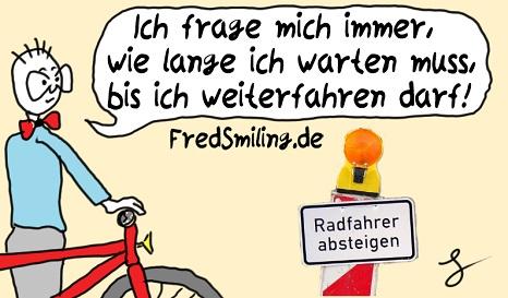FredSmiling radfahrer-absteigen